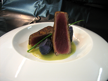 Blanched Spicy Tuna on Broad Bean  and Violet Potato Cream